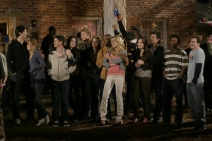 """""""All Of A Sudden I Miss Everyone"""" -- The Tree Hill gang all attend a big midnight madness party to celebrate the juniors becoming seniors, and the seniors no longer being in high school. They are surprised to discover the party is being thrown by Rachel, who has returned to say goodbye in ONE TREE HILL on The CW. Pictured (L-R) James Lafferty as Nathan Scott, Bethany Joy Lenz as Haley James, Lee Norris as Mouth, Daneel Harris as Rachel, Chad Michael Murray as Lucas Scott, Hilarie Burton as Peyton Sawyer, Antwon Tanner as Skills, Sophia Bush as Brooke Davis and Stephen Colletti as Chase Photo: Fred Norris/The CW ©2007 The CW Network, LLC. All Rights Reserved."""