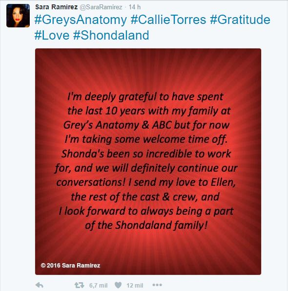 Sara Ramirez deixa o elenco de Grey's Anatomy   Séries da TV