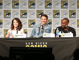 "COMIC-CON INTERNATIONAL: SAN DIEGO 2016 -- ""Timeless Panel"" -- Pictured: Abigail Spencer, Matt Lanter, Malcolm Barrett, Saturday, July 23, 2016, from the San Diego Convention Center, San Diego, Calif. -- (Photo by: Mark Davis/NBC)"