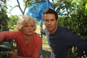 "RAISING HOPE: Virginia (Martha Plimpton, L) and Burt (Garret Dillahunt, R) hunt an aggressive squirrel in the ""Squeak Means Squeak"" episode of RAISING HOPE airing Tuesday, Dec. 4 (8:00-8:30 PM ET/PT) on FOX. ©2012 Fox Broadcasting Co. CR: Ray Mickshaw/FOX"