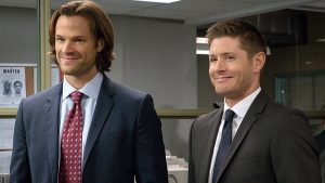 """Supernatural -- """"Plush"""" -- Image SN1107B_0101.jpg -- Pictured (L-R): Jared Padalecki as Sam and Jensen Ackles as Dean -- Photo: Liane Hentscher/The CW -- © 2015 The CW Network, LLC. All Rights Reserved."""