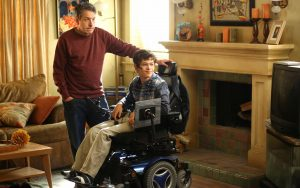 """John Ross Bowie, left, as Jimmy DiMeo, and Micah Fowler, as JJ DiMeo, star on ABC's """"Speechless,"""" which was named to this year's Television Academy Honors. (Michael Ansell/ABC)"""